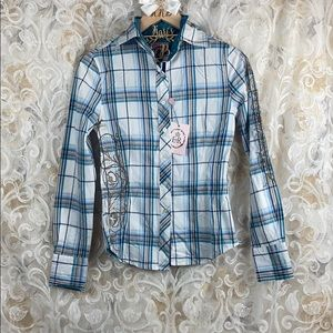 ERII Embroidered floral blue plaid button up NWT